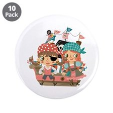 "Girly Pirates 3.5"" Button (10 pack)"