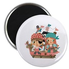 """Girly Pirates 2.25"""" Magnet (100 pack)"""