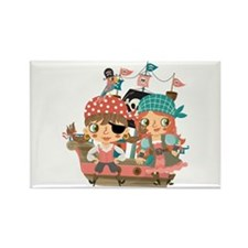 Girly Pirates Rectangle Magnet (10 pack)