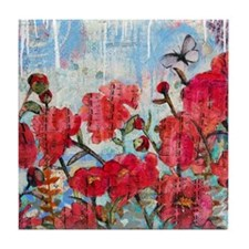 Peony with Butterfly Tile Coaster