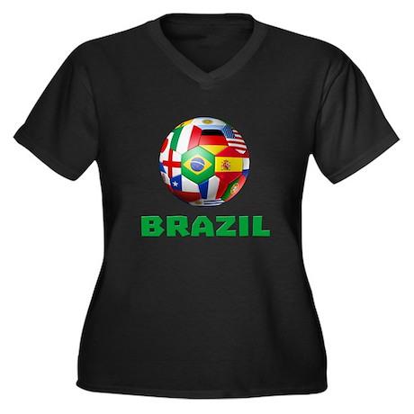 Brazil soccer women 39 s plus size v neck dark t shirt brazil for Womens brazil t shirt