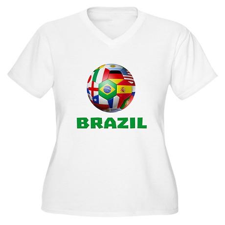 Brazil soccer women 39 s plus size v neck t shirt brazil for Womens brazil t shirt
