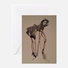 French maid pin-up Greeting Card