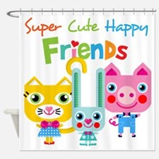 Super Cute Happy Friends Shower Curtain