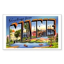 Maine Greetings Rectangle Decal