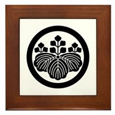 Paulownia with 5_3 blooms in circle Framed Tile