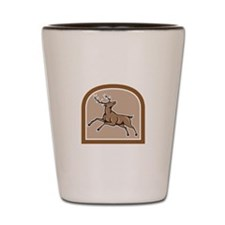Stag Deer Looking Up Jumping Cartoon Shot Glass