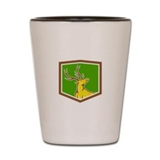 Stag Deer Looking Up Shield Cartoon Shot Glass