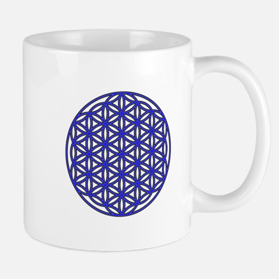 Flower of Life Single Blue Mug