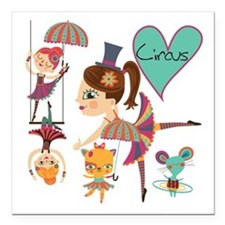 "Love the Circus Square Car Magnet 3"" x 3"""