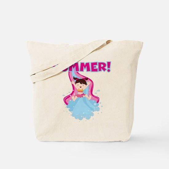 Brunette Girl Summer Tote Bag