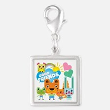 Animals Good Friends Silver Square Charm