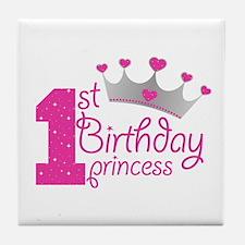 1st Birthday Princess Tile Coaster