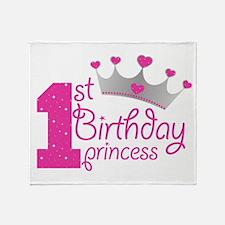1st Birthday Princess Throw Blanket