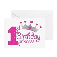 1st Birthday Princess Greeting Cards