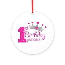 1st Birthday Princess Ornament (round)