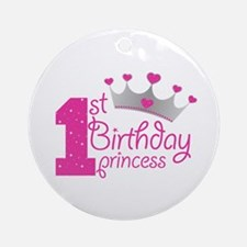 1st Birthday Princess Ornament (round)