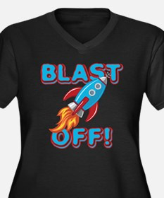 Blast Off Women's Plus Size V-Neck Dark T-Shirt