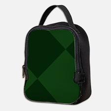 Dark Green Diamond Checkered Neoprene Lunch Bag
