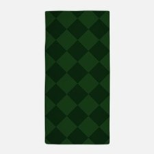 Dark Green Diamond Checkered Beach Towel