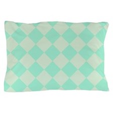 Minty Green Diamond Checkerboard Pillow Case