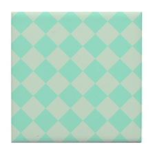 Minty Green Diamond Checkerboard Tile Coaster