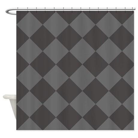 Dark Grey Diamond Checkered Shower Curtain By PatternedShop