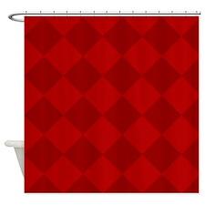 Scarlet Red Diamond Checkerboard Shower Curtain
