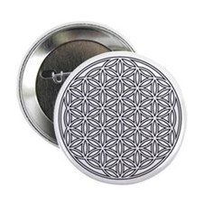 """Flower of Life Single White 2.25"""" Button"""
