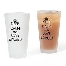 Keep Calm and Love Slovakia Drinking Glass