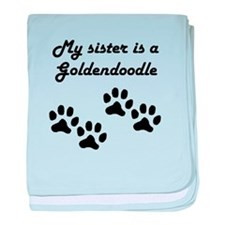 My Sister Is A Goldendoodle baby blanket