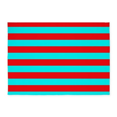 Red and teal striped 5 39 x7 39 area rug by patternedshop for Red and white striped area rug