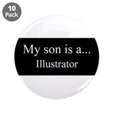 "Son - Illustrator 3.5"" Button (10 pack)"