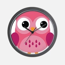 Pink Owl-3 Wall Clock