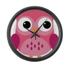 Pink Owl-3 Large Wall Clock