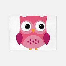 Pink Owl-3 5'x7'Area Rug