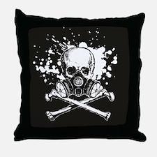 Gas Mask Jolly Roger Throw Pillow