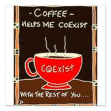 "Coffee Coexist Square Car Magnet 3"" x 3"""
