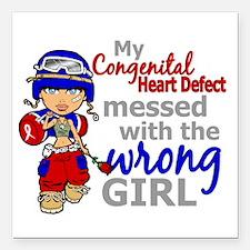 "CHD Combat Girl 1 Square Car Magnet 3"" x 3"""