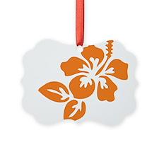 Orange Hibiscus Tropical Hawaii F Ornament