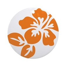 Orange Hibiscus Tropical Hawaii F Ornament (Round)