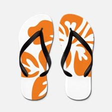 Orange Hibiscus Tropical Hawaii Flower Flip Flops