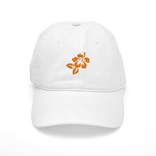Orange Hibiscus Tropical Hawaii Flower Cap