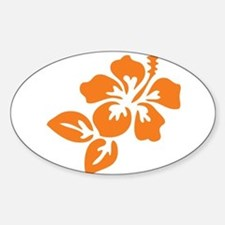 Orange Hibiscus Tropical Hawaii Flo Sticker (Oval)