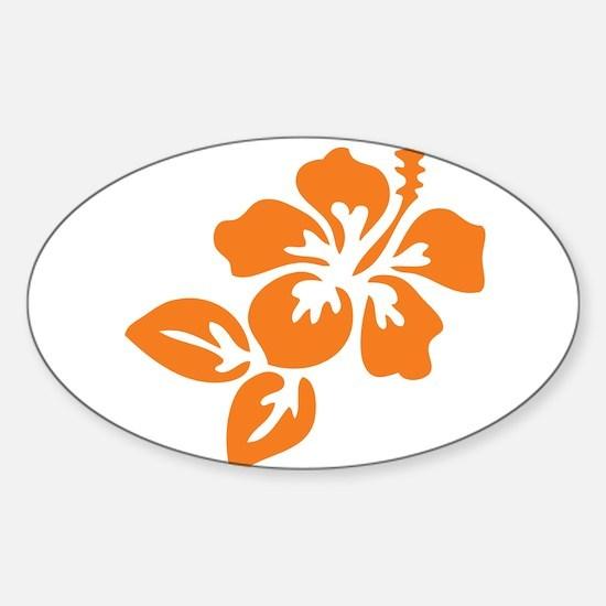Orange Hibiscus Tropical Hawaii Flo Sticker (Oval)