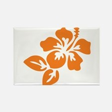 Orange Hibiscus Tropical Hawaii F Rectangle Magnet