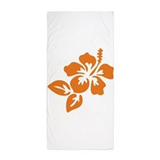 Orange Hibiscus Tropical Hawaii Flower Beach Towel