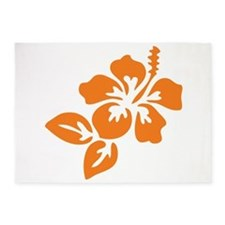 Orange Hibiscus Tropical Hawaii Flo 5'x7'Area Rug