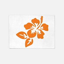 Orange Hibiscus Tropical Hawaii Flo 5'x7'Area Rug