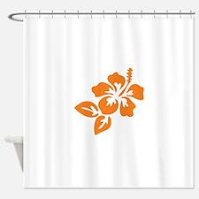 Orange Hibiscus Tropical Hawaii Flo Shower Curtain